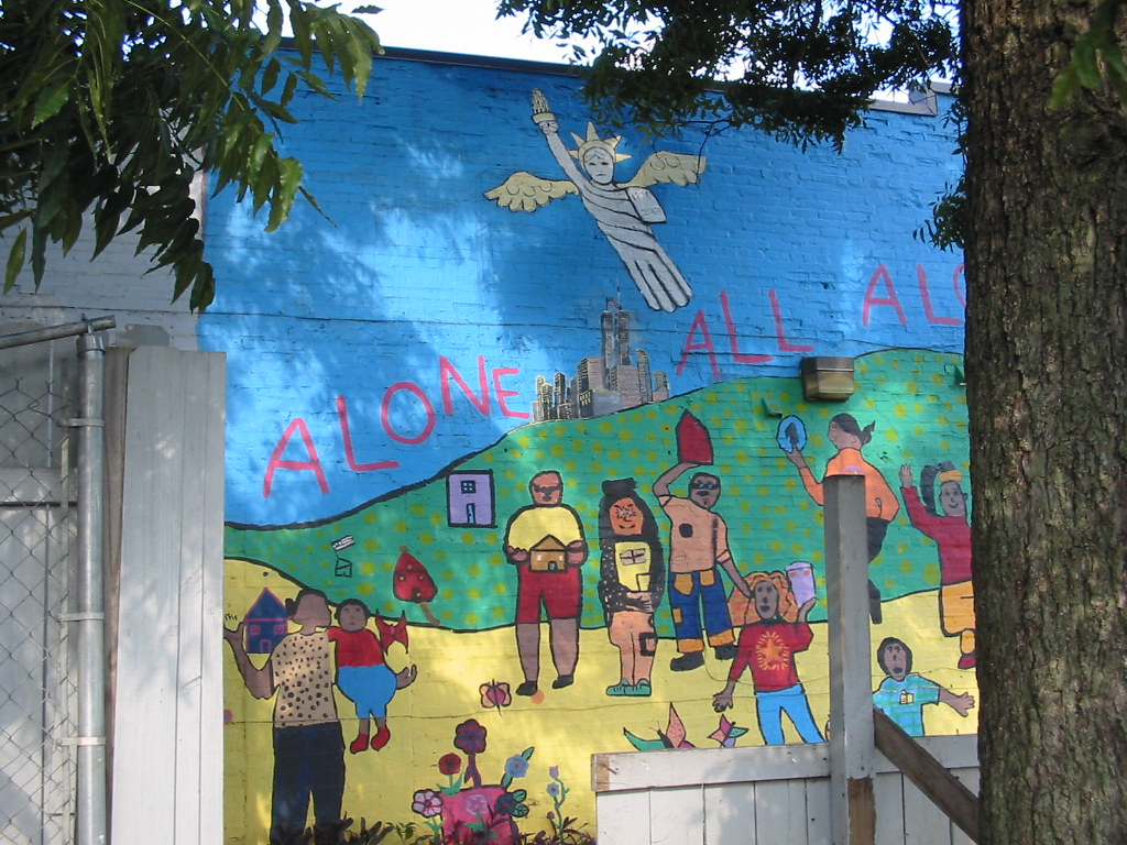 Colorful mural on wall of homeless shelter
