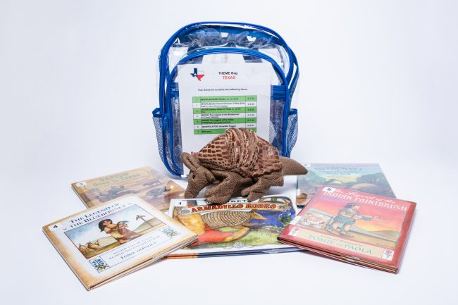 A theme backpack for Texas, including five children's books and an armadillo puppet.