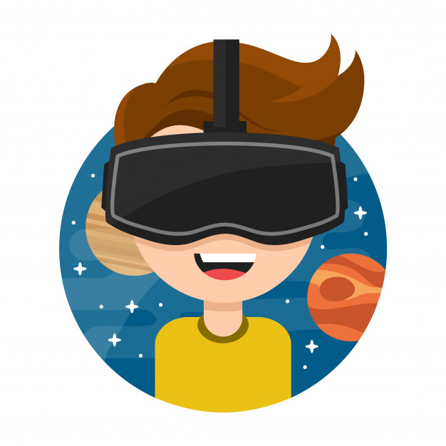 cartoon image of child with vr goggles on on a solar system background
