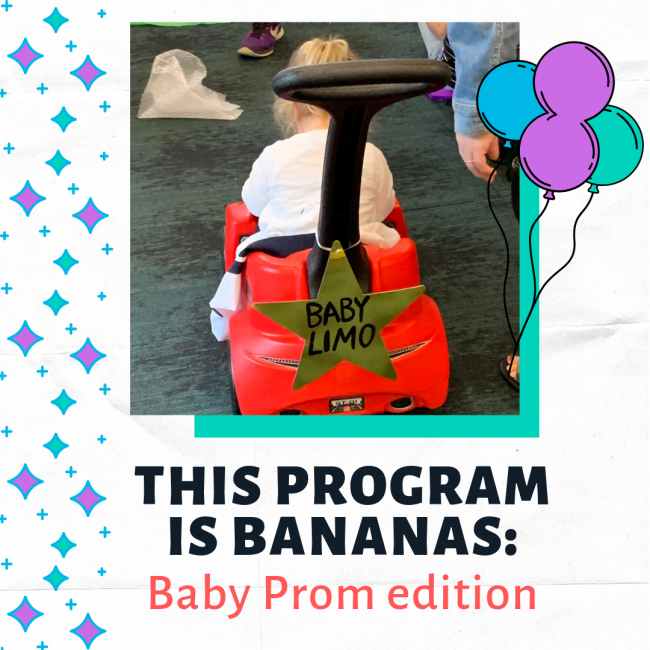 """A toddler sits with her back to the camera in a red push car labeled """"Baby Limo."""" Text beneath reads: """"This Program is Bananas: Baby Prom Edition."""""""