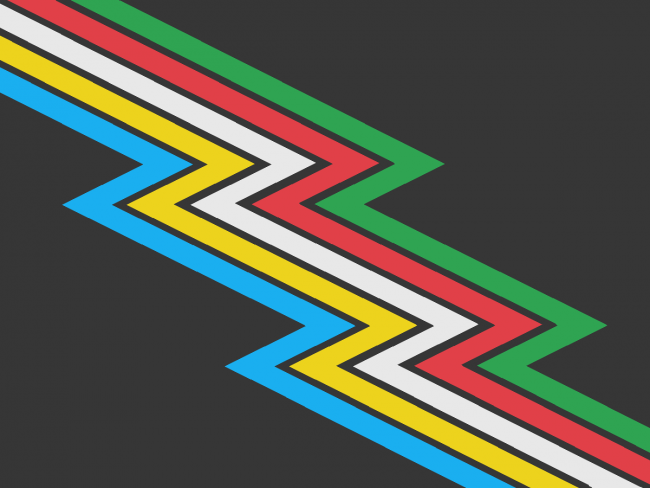 """A charcoal grey/almost-black flag crossed diagonally from top left to bottom right by a """"lightning bolt"""" band divided into parallel stripes of five colors: light blue, yellow, white, red, and green. There are narrow bands of the same black between the colors. Description ends."""