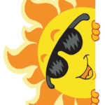 comic image of sun with face and sunglasses, peering around edge of screen