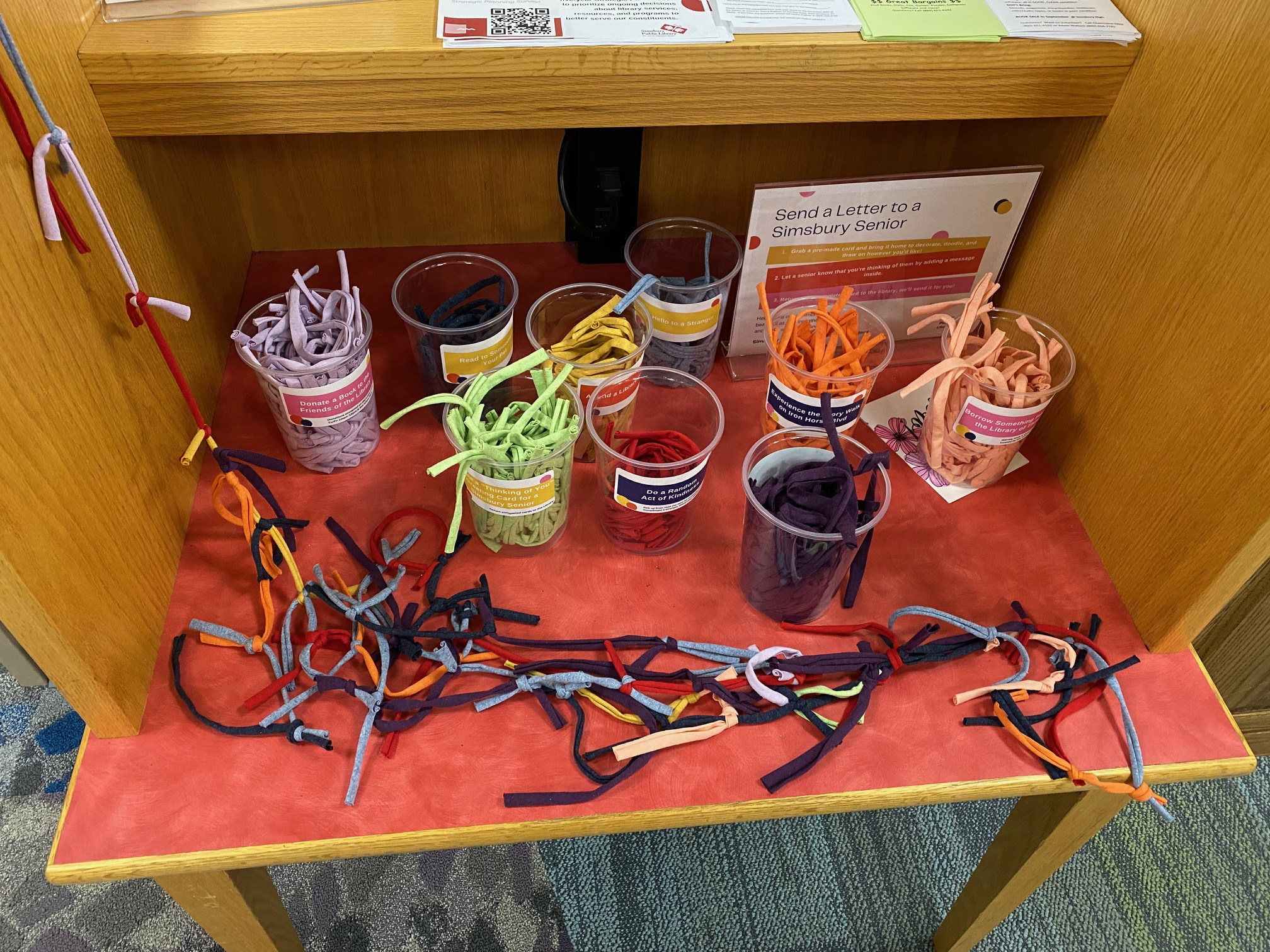 Supplies for a community art project at the Simsbury Public Library